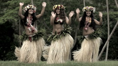 Polynesian girls in grass skirts and flower headdress dancing hula style Stock Footage