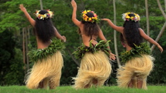 Young female group of Tahitian hula dancers performing outdoor barefoot  Stock Footage