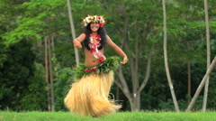Young Polynesian Tahitian female hula dancer performing outdoor barefoot  Stock Footage
