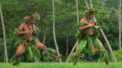 Polynesian young men in grass skirts with flower headdress dancing hula war Stock Footage