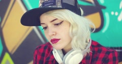 Gorgeous hipster young blond woman Stock Footage