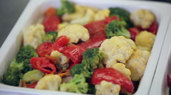 Slider panorama of fresh vegetable salad bar Stock Footage
