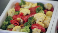 Slider panorama of fresh vegetable salad bar Stock Footage