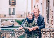 Father and son portrait on the Venetian bridge Stock Photos