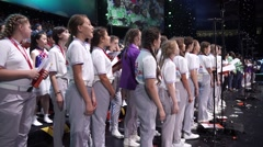 RUSSIA, SOCHI - JUL 2016: World Choir Games. The big summary chorus Stock Footage