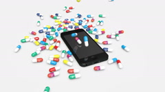 Pills with icons of most popular social media apps fall down onto a smartphone. Stock Footage