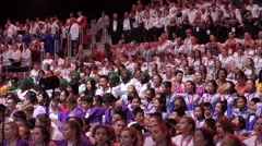 RUSSIA, SOCHI - JUL  2016: World Choir Games. The big summary chorus sings a Stock Footage