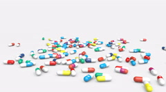 Pills with icons of popular social media apps falling down. Stock Footage