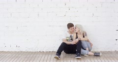 Loving young urban couple Stock Footage