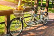 Tandem bicycle in the park. Stock Photos