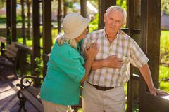 Senior man has heart ache. Stock Photos
