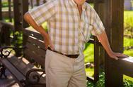 Elderly male has backache. Stock Photos