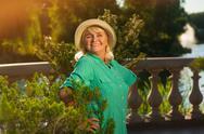Senior lady on nature background. Stock Photos
