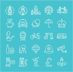 Set Vector Flat Line Icons London Stock Illustration