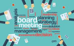Board meeting abstract vector background with word cloud and management Stock Illustration