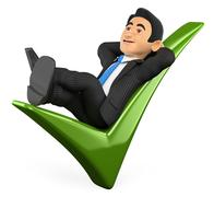 3D Businessman lying on a green tick Stock Illustration