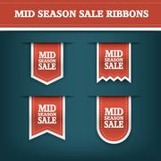 Mid season sale ribbon elements for online shopping and your products. E-shop Stock Illustration