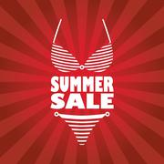 Summer sale poster with sexy woman bikini and text. Red rays stripes background Stock Illustration