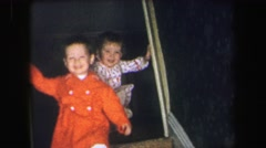 1972: two child going downstair LYNBROOK, NEW YORK Stock Footage