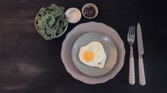 Continental breakfast at home. fried eggs sunny side up in a pan. Stock Footage