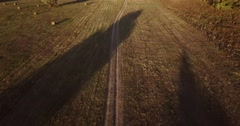 Aerial view autumn field with haystacks retracted autumn Stock Footage
