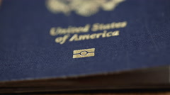 Extreme CU Dolly Shot of USA Passport, Shallow DOF Stock Footage