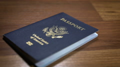 Dolly Parallax Shot of USA Passport, Shallow DOF Stock Footage