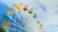 Big wheel against clouds. Stock Footage