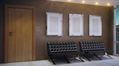 Empty office. Sunny morning.3D rendering Stock Footage