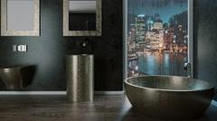 Bathroom. Rainy evening. 3D rendering Stock Footage