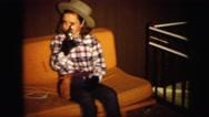 1972: beautiful little girl dressed up in western attire holding gun LYNBROOK Stock Footage