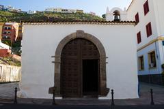San Sebastian de la Gomera. Street view. Small church. Stock Photos