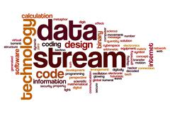 Data stream word cloud Stock Illustration