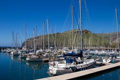14.03.2013 - San Sebastrina de la Gomera. Yacht harbor. Canary islands. Spain Stock Photos