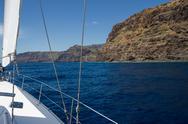 Sailing on luxury yacht in Atlantic ocean near La Gomera Island in Spain. Stock Photos