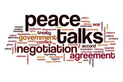 Peace talks word cloud Stock Illustration