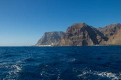 Sailing near La Gomera Island in Canary islands, Spain. View to Valle Gran Re Stock Photos