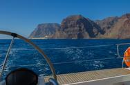 Sailing on luxury yacht in Atlantic ocean near La Gomera Island in Spain. Vie Stock Photos
