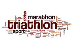 Triathlon word cloud Stock Illustration