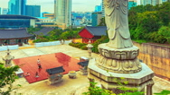 Pilgrims praying at the Bongeunsa temple time lapse Stock Footage