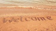 Inscription on sand, the beach. Stock Footage