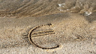 Euro sign on sand. Stock Footage