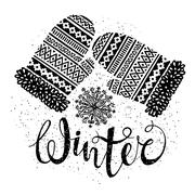 Winter text and knitted woolen mittens with snowflakes. Seasonal shopping Stock Illustration