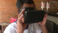 Virtual Reality: Person of Color Using Virtual Reality Headset - Stock Footage