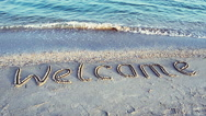 Inscription on sand, the beach. Stock Footage