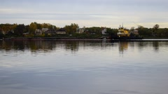 Barge floating on the river Stock Footage
