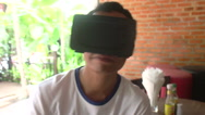 Virtual Reality VR: Person of Color Using Virtual Reality Headset - Variation  Stock Footage