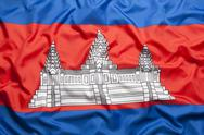 Textile flag of Cambodia Stock Photos