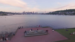 Aerial View of Lookout from Gas Works Park Across Lake Union to Seattle Stock Footage