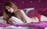 Sexy brunette woman with perfect slim body Stock Photos